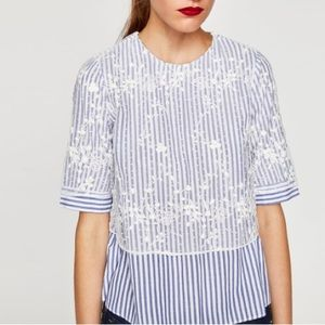 Zara Striped Top With Dotted Mesh S